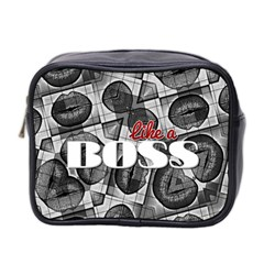 Like A Boss Blk&wht Mini Travel Toiletry Bag (two Sides)