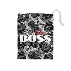 Like A Boss Blk&wht Drawstring Pouch (medium)