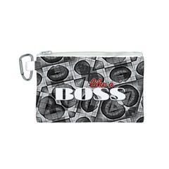 Like A Boss Blk&wht Canvas Cosmetic Bag (Small)