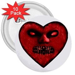 Evil Heart Shaped Dark Monster  3  Button (10 Pack)