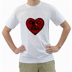 Evil Heart Shaped Dark Monster  Men s T-Shirt (White)
