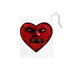 Evil Heart Shaped Dark Monster  Drawstring Pouch (Small)
