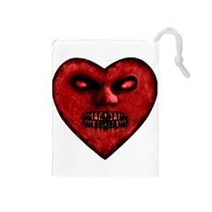 Evil Heart Shaped Dark Monster  Drawstring Pouch (Medium)