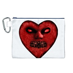 Evil Heart Shaped Dark Monster  Canvas Cosmetic Bag (large)