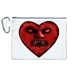 Evil Heart Shaped Dark Monster  Canvas Cosmetic Bag (XL)