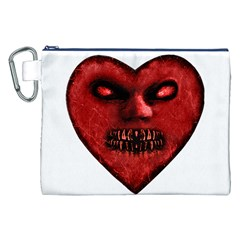 Evil Heart Shaped Dark Monster  Canvas Cosmetic Bag (XXL)