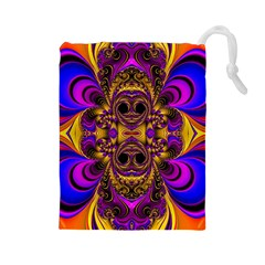 Crazy Abstract  Drawstring Pouch (large)