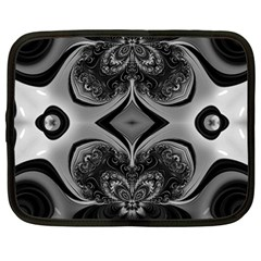 Crazy Black&white Fractal Netbook Sleeve (large)