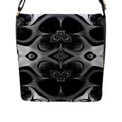 Crazy Black&white Fractal Flap Closure Messenger Bag (large)