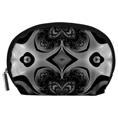 Crazy Black&white Fractal Accessory Pouch (Large)