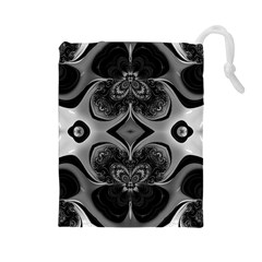Crazy Black&white Fractal Drawstring Pouch (large)
