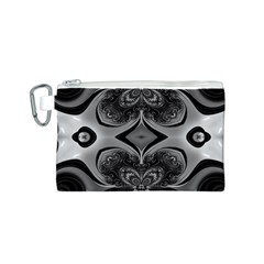 Crazy Black&white Fractal Canvas Cosmetic Bag (Small)