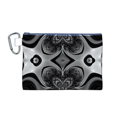Crazy Black&white Fractal Canvas Cosmetic Bag (Medium)