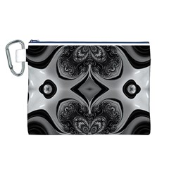 Crazy Black&white Fractal Canvas Cosmetic Bag (Large)