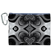 Crazy Black&white Fractal Canvas Cosmetic Bag (XL)