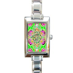 Florescent Abstract  Rectangular Italian Charm Watch
