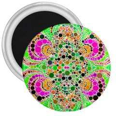 Florescent Abstract  3  Button Magnet