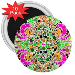 Florescent Abstract  3  Button Magnet (10 Pack)