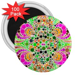 Florescent Abstract  3  Button Magnet (100 Pack)