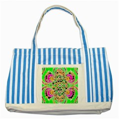 Florescent Abstract  Blue Striped Tote Bag