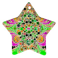 Florescent Abstract  Star Ornament (two Sides)