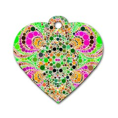 Florescent Abstract  Dog Tag Heart (Two Sided)