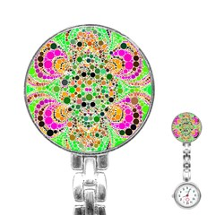 Florescent Abstract  Stainless Steel Nurses Watch