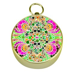 Florescent Abstract  Gold Compass