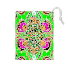 Florescent Abstract  Drawstring Pouch (Large)