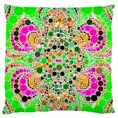 Florescent Abstract  Large Flano Cushion Case (one Side)