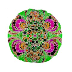 Florescent Abstract  Standard Flano Round Cushion