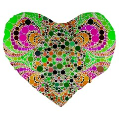 Florescent Abstract  Large Flano Heart Shape Cushion