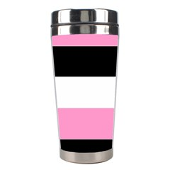 Black, Pink And White Stripes  By Celeste Khoncepts Com 20x28 Stainless Steel Travel Tumbler