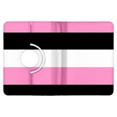 Black, Pink And White Stripes  By Celeste Khoncepts Com 20x28 Kindle Fire HDX Flip 360 Case