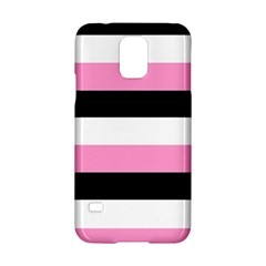 Black, Pink And White Stripes  By Celeste Khoncepts Com 20x28 Samsung Galaxy S5 Hardshell Case