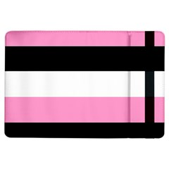 Black, Pink And White Stripes  By Celeste Khoncepts Com 20x28 Apple iPad Air Flip Case