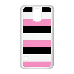 Black, Pink And White Stripes  By Celeste Khoncepts Com 20x28 Samsung Galaxy S5 Case (White)