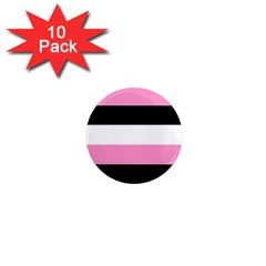 Black, Pink And White Stripes By Celeste Khoncepts Com 1  Mini Magnet (10 Pack)