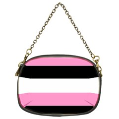 Black, Pink And White Stripes By Celeste Khoncepts Com Chain Purse (two Sides)
