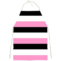 Black, Pink And White Stripes By Celeste Khoncepts Com Full Print Apron