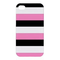 Black, Pink And White Stripes By Celeste Khoncepts Com Apple Iphone 4/4s Premium Hardshell Case