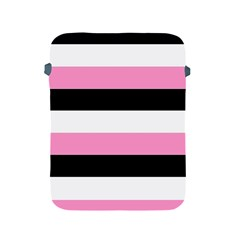 Black, Pink And White Stripes  By Celeste Khoncepts Com 20x28 Apple Ipad Protective Sleeve