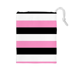 Black, Pink And White Stripes  By Celeste Khoncepts Com 20x28 Drawstring Pouch (Large)