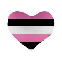 Black, Pink And White Stripes  By Celeste Khoncepts Com 20x28 Standard Flano Heart Shape Cushion