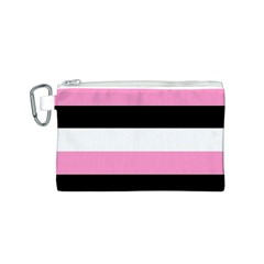 Black, Pink And White Stripes  By Celeste Khoncepts Com 20x28 Canvas Cosmetic Bag (Small)