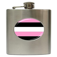 Black, Pink And White Stripes  By Celeste Khoncepts Com 20x28 Hip Flask