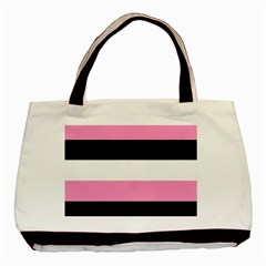 Black, Pink And White Stripes  By Celeste Khoncepts Com 20x28 Classic Tote Bag