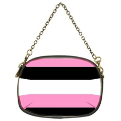 Black, Pink And White Stripes  By Celeste Khoncepts Com 20x28 Chain Purse (one Side)