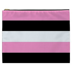 Black, Pink And White Stripes  By Celeste Khoncepts Com 20x28 Cosmetic Bag (xxxl)