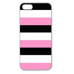 Black, Pink And White Stripes  By Celeste Khoncepts Com 20x28 Apple Seamless Iphone 5 Case (clear)